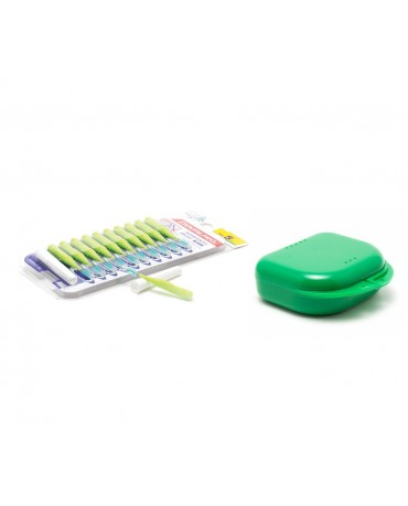 DentalPro i Shape Interdental Brush Green Size 5 & MASEL Retainer Box Green Super Tuff - Combo