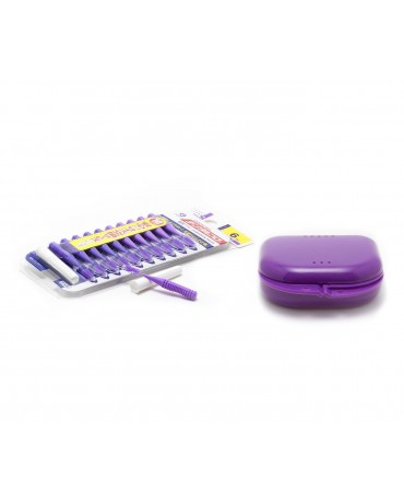 DentalPro i Shape Interdental Brush Purple Size 6 & MASEL Retainer Box Purple Super Tuff - Combo