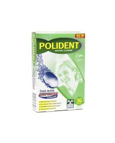 Polident Fresh Active Express 3 Minute Denture Cleanser 36 Tablets