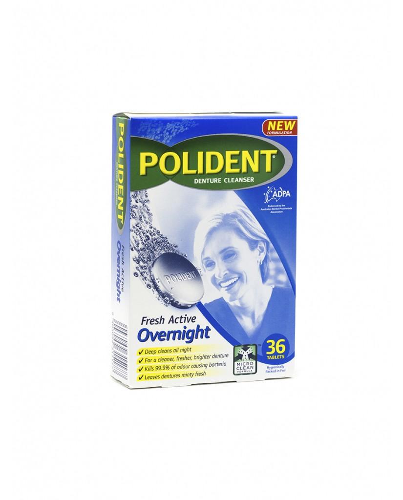 Polident Fresh Active Overnight Denture Cleanser 36 Tablets