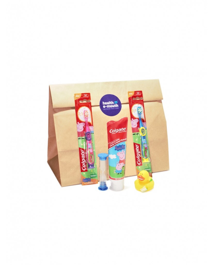 Health E-Mouth - 3-5 Years - Peppa Pig Toothbrushes & Fluoride Toothpaste Pack