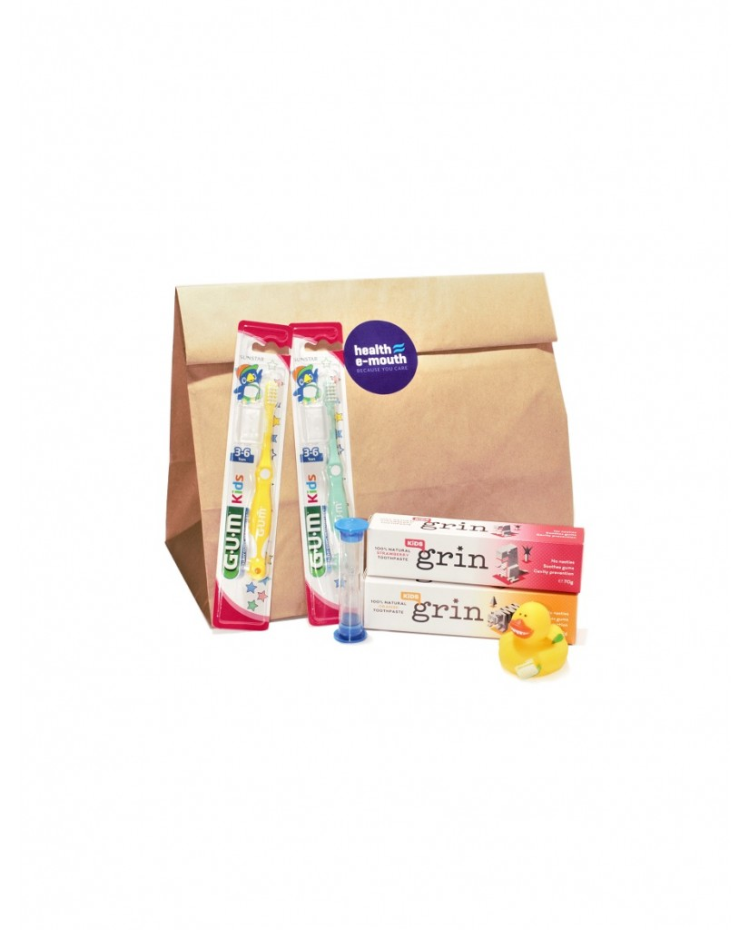 Health E-Mouth - 3-6 Years GUM Toothbrushes + Fluoride or Fluoride-Free Toothpaste Pack