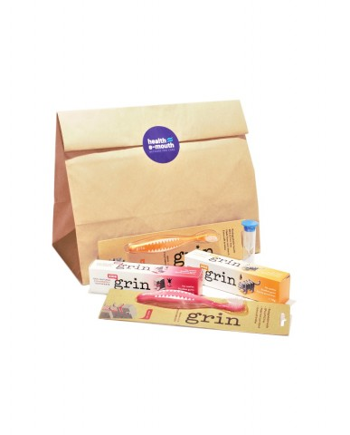 Health E-Mouth - Baby 6 Months+  Grin Natural, Fluoride-Free Toothpastes & Biodegradable Toothbrushes Pack